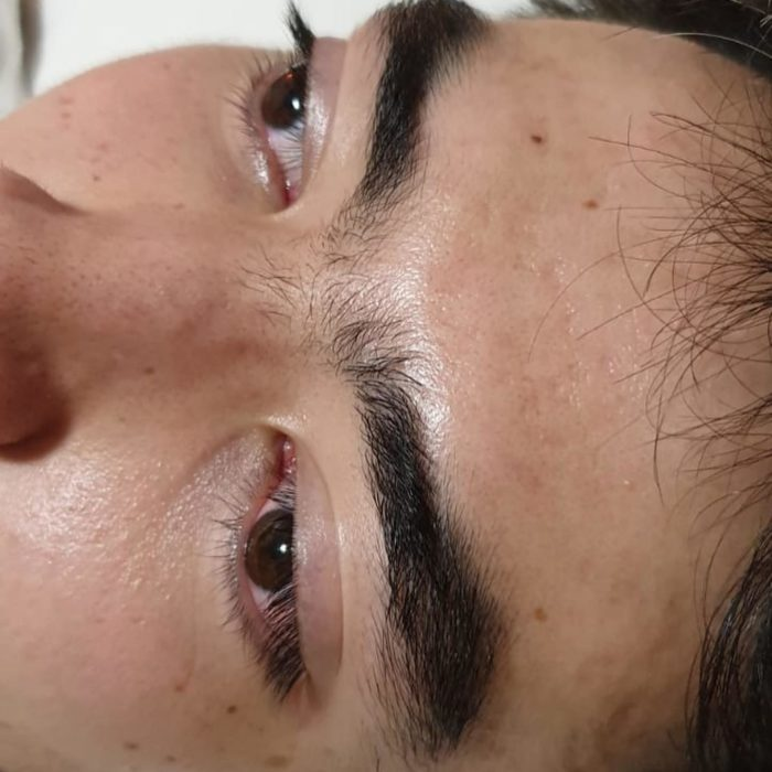 Gentlemen's before photo of eyebrows prior to shaping